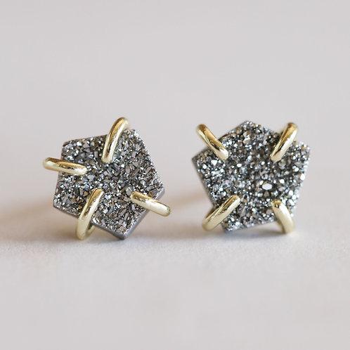 Silver Druzy Prong Earrings