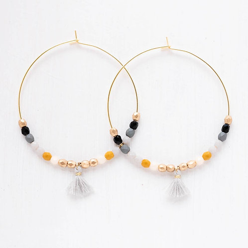 Large Hoops with Tiny Grey Tassel