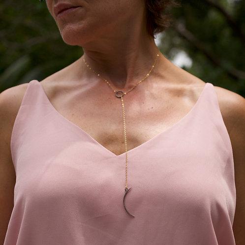 Pave Sun & Moon Lariat Necklace