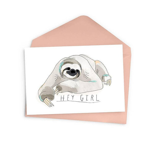 Hey Girl Sloth Card
