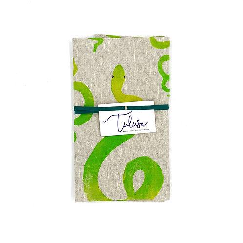 Linen Tea Towel - Serpent