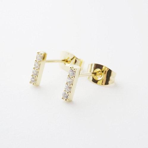 Flat Drop Crystal Bar Earrings