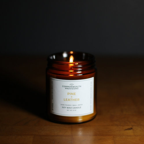 Pine + Leather Candle