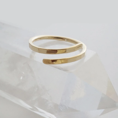 Hammered Marigold Wrap Ring Gold Plate