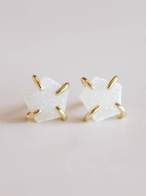 White Druzy Prong Studs