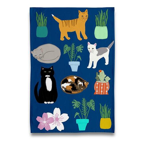 Pets and Plants Tea Towel