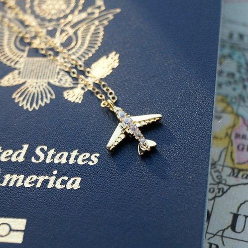 Tiny Airplane Necklace