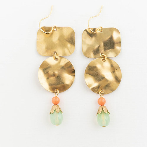 Long Hammered Brass Earrings