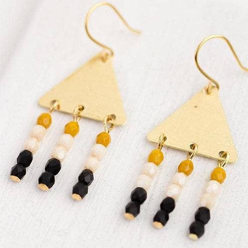Black Bead Triangle Earrings