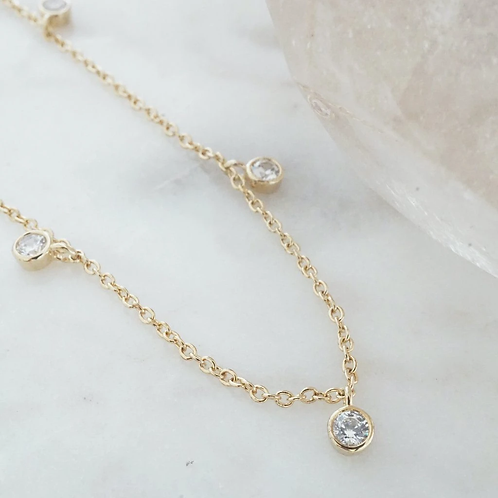 Crystal Stardust Necklace Gold Plate