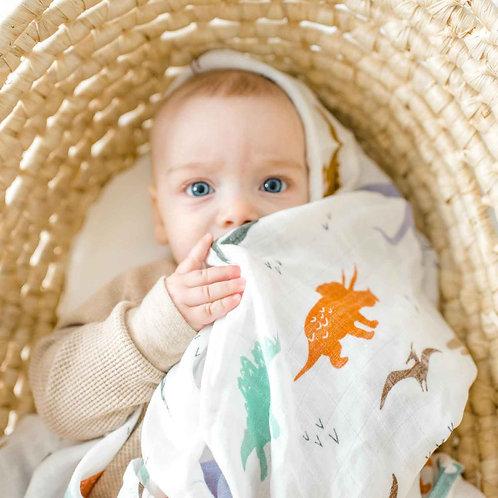 Dinosaur Muslin Swaddle Blanket