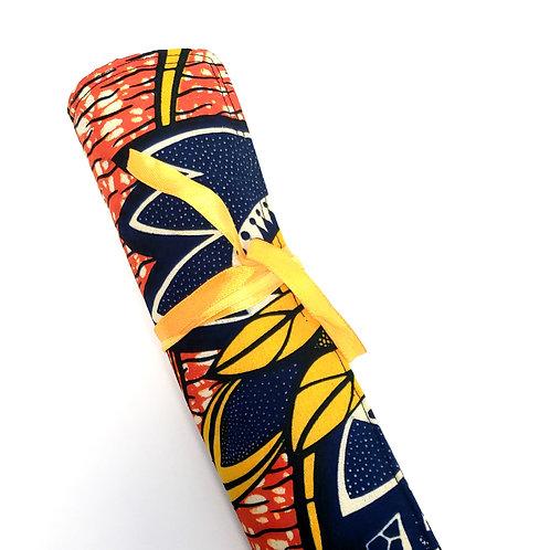 100% Ankara Orange & Blue Print Makeup Brush Roller, Traveling Makeup Brush Roll