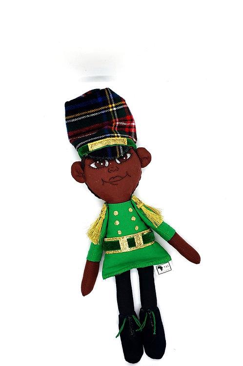 Pan African Holiday Rag Boy Green Doll