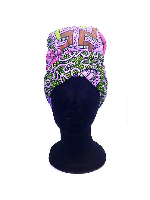 Ankara 2 in 1 Wrap /Bonnet Purple Green print