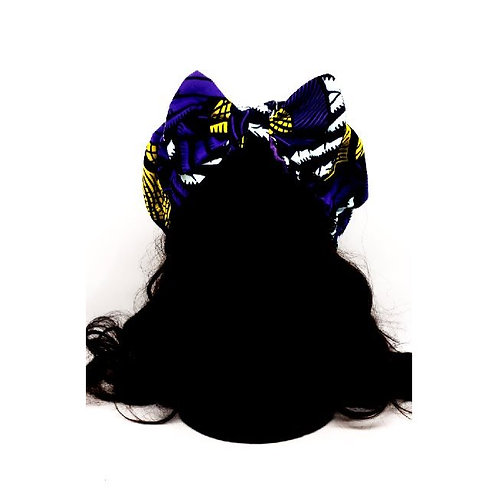 Chunky Headband purple & yellow print