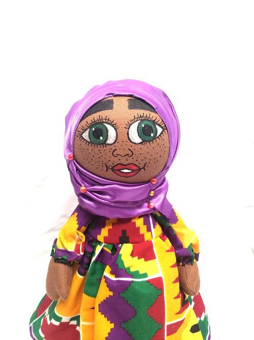 Muslin Doll, Islamic Doll, African American Doll,Kente Print , Purple Hijah