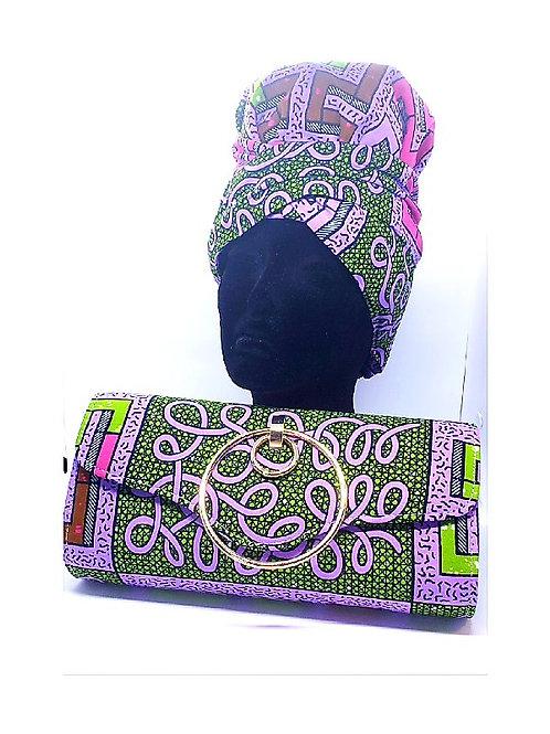 Ankara Purple/Green Print Bonnet/Wrap and Bag
