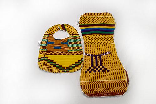 Unisex baby bibs and burp clothing. 100% Ankara Mustard