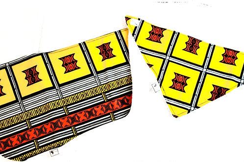 100% Ankara Yellow print Newborn Baby set, Bib, Burp Cloth, Pacifier String