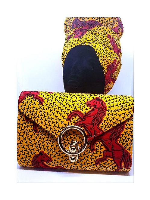 Ankara Horse Print Bonnet/Wrap and Bag