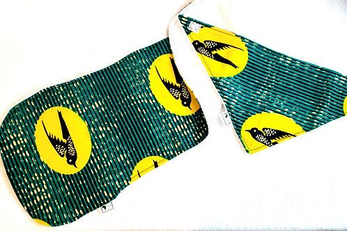 100% Ankara Yellow Bird Newborn Baby set, Bib, Burp Cloth, Pacifier String