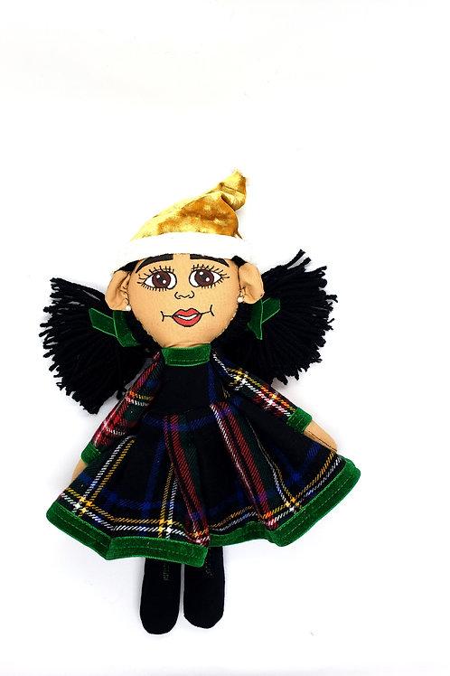 Pan African Holiday Rag Girl Green Doll