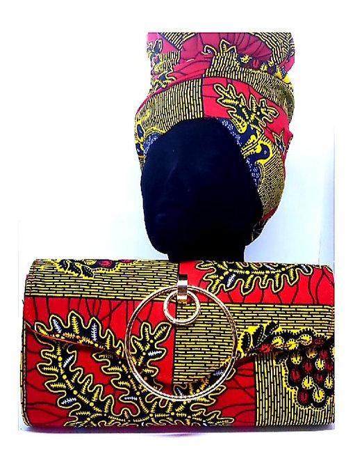 Ankara Bird Print Bonnet/Wrap and Bag