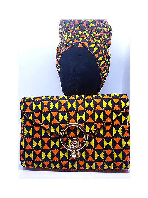 Ankara Orange and Yellow Print Bonnet/Wrap and Bag