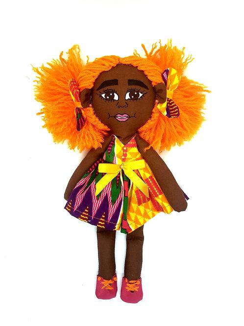 Pan African Rag Doll Orange Kente print