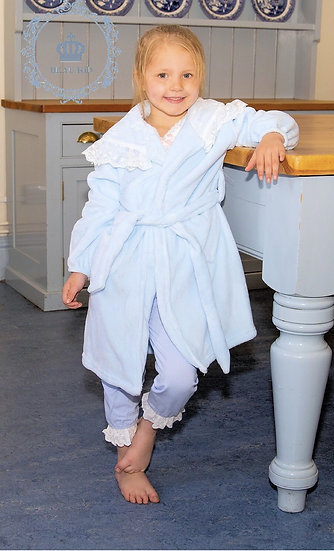 BEAU KIDS GIRLS VELOUR FEEL DRESSING GOWN/ROBE WITH LACE INSIDE HOOD BLUE