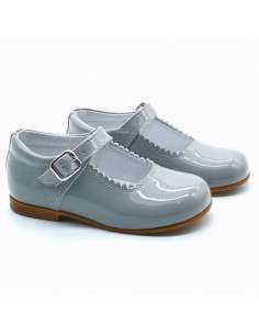GREY MARY JANES IN PATENT