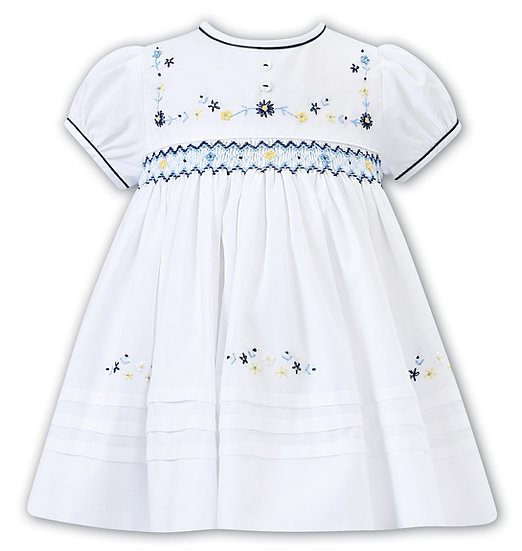 SARAH LOUISE WHITE DRESS WITH NAVY AND YELLOW SMOCKING
