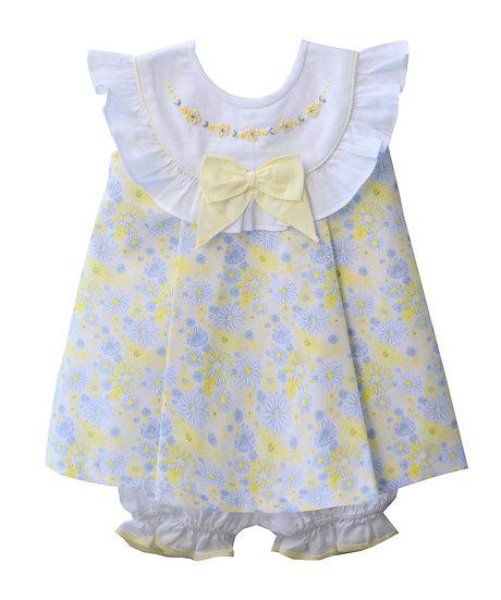 YELLOW & WHITE FLORAL PRINT BABIES DRESS