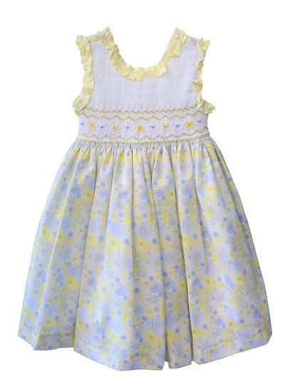 YELLOW & WHITE FLORAL PRINT SMOCKED DRESS