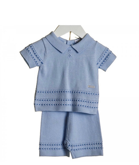 BABY SKY 2 TONE COLLARED KNIT 2PCE SUIT