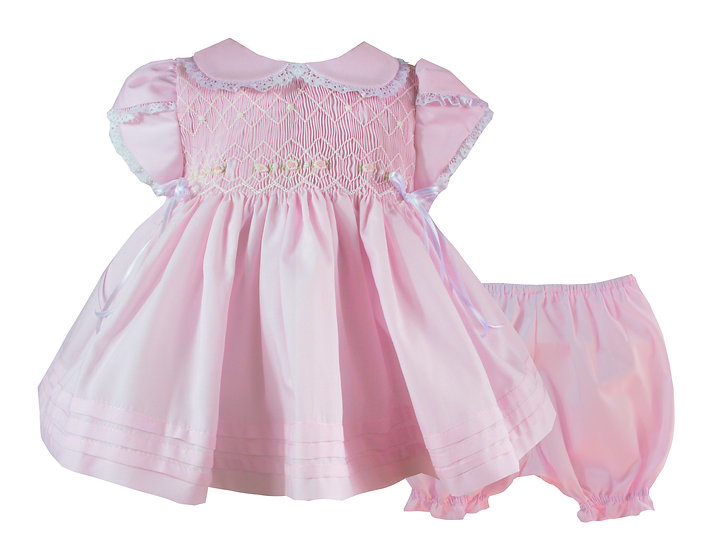 PINK & WHITE SMOCKED DRESS WITH MATCHING BLOOMERS