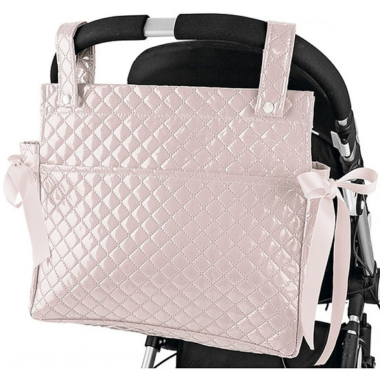 TALEGA PINK SQUARE TOP PATENT QUILTED CHANGING BAG
