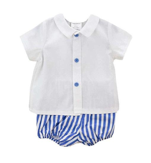 BABY-FERR BOY SET ROYAL BLUE & WHITE STRIPED