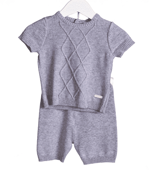BLUES BABY GREY CABLE DIAMOND PANEL KNIT 2PCE SUIT