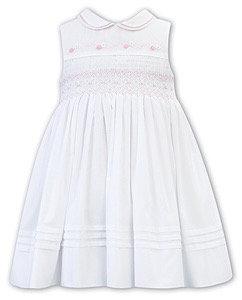 SARAH LOUISE WHITE DRESS WITH PINK SMOCKING