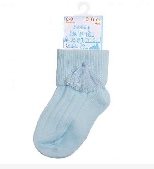 UNISEX 'SOFT TOUCH' BLUE OR WHITE ANKLE TASSEL SOCK