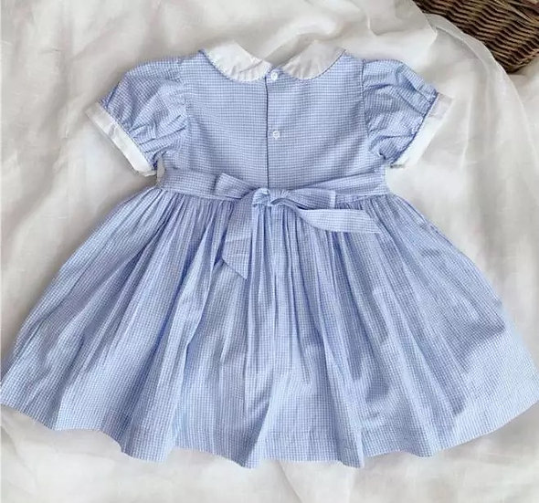 GIRLS TRADITIONAL SMOCKED DRESS WITH PETER PAN COLLAR