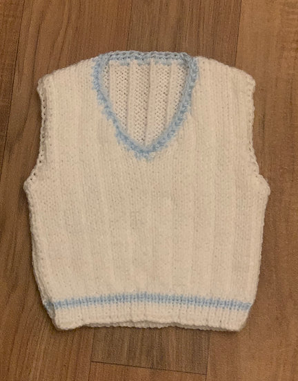 KNITTED WHITE  & BABY BLUE HAND V NECK TANK TOP