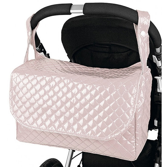 Pink Round Top Patent Quilted Changing Bag