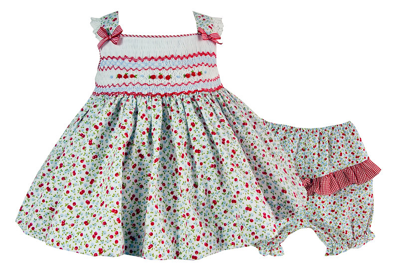 RED PRINT FLORAL TOP & BLOOMERS