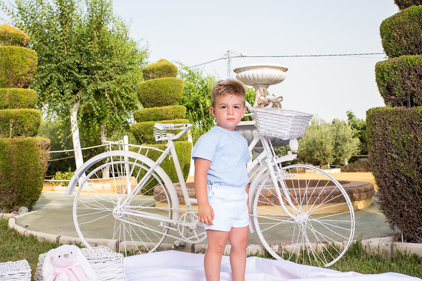 BABINE BLUE & WHITE SHORT SET
