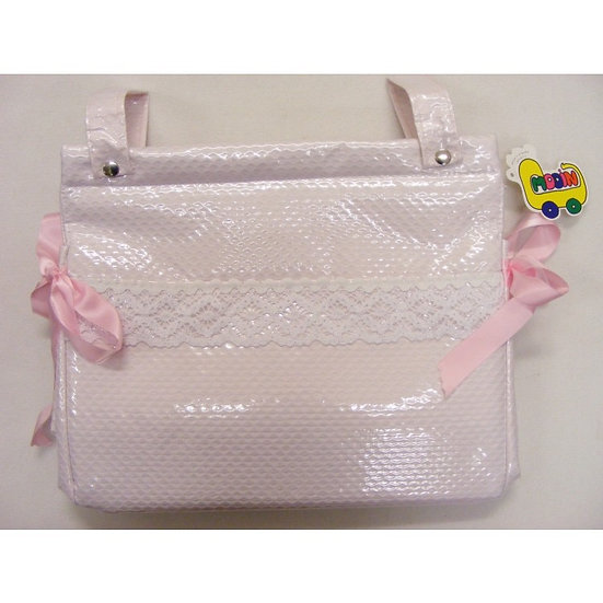 'MODIN' SPANISH PLASTICOATED CHANGING BAG-- PINK with COTTON LACE TRIM