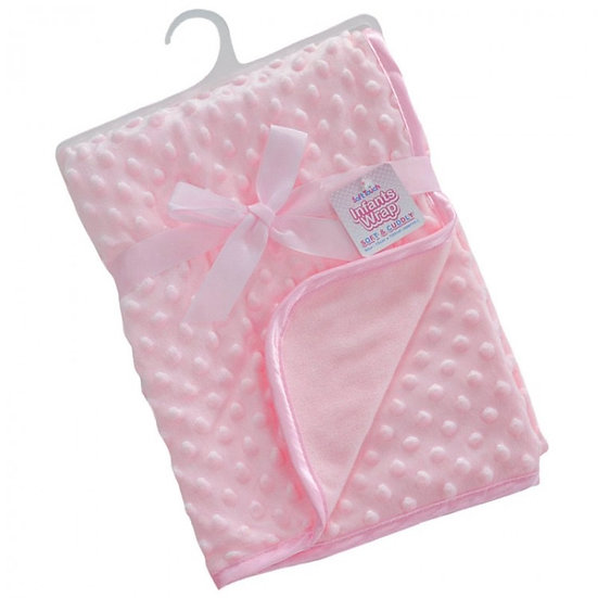 SOFT TOUCH BABY PINK BUBBLE VELOUR BLANKET