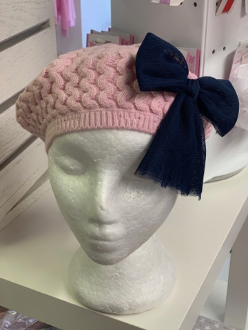 RAHIGO BERET WITH TULLE BOW (PINK)