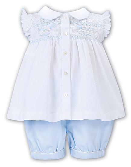 SARAH LOUISE WHITE & BABY BLUE 2 PIECE SMOCKED SET